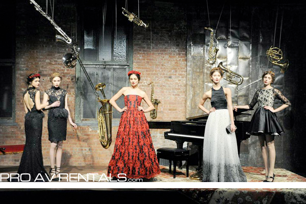Stage Riser Rental NYC by Pro Event Source for Alice + Olivia 2013 Fashion Week Show, inspired by french street style. For more infor visit: https://proavrentals.com #proeventsource #proavrentals